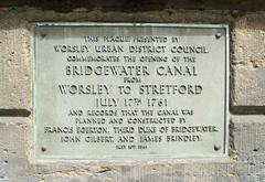Photo of Francis Egerton, James Brindley, and John Gilbert brushed metal plaque