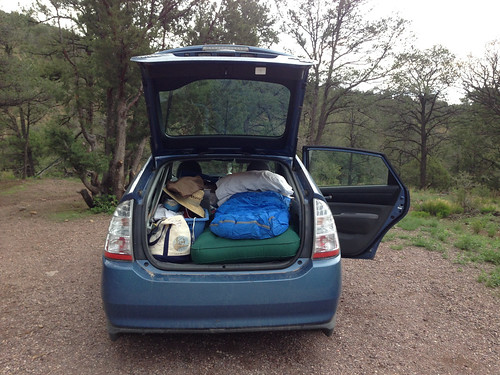 Camping in my Prius in Water Canyon