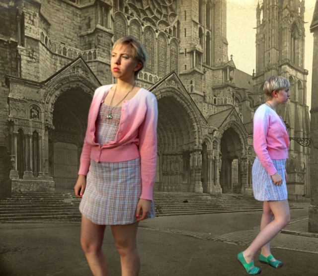 Ombre Pink Tangerine Cardigan, Chartres - OOTD 1/2/2014