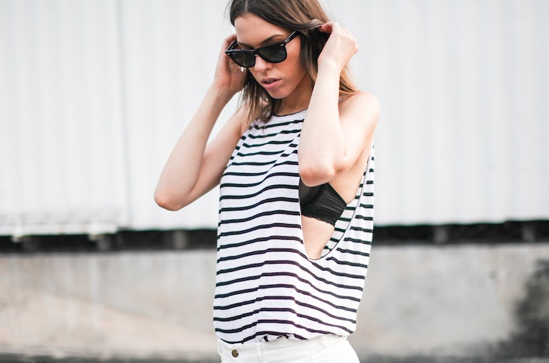 modern legacy fashion style blogger australia Bassike stripe lo slung jeans white mesh bra summer street style tall (11 of 11)