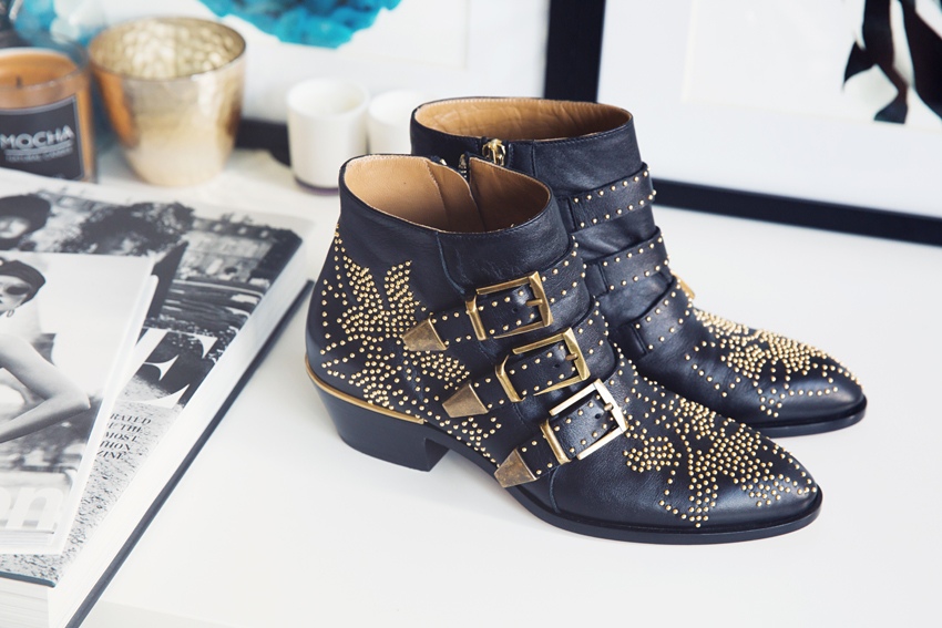 Chloe Susanna Leather Studded Boots