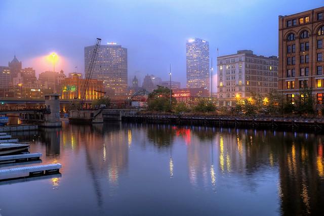 Foggy Autumn Night below St Paul Avenue Bridge