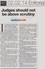 Judges should not be above Scrutiny - Sunday Herald - 2 Feb 2014 web