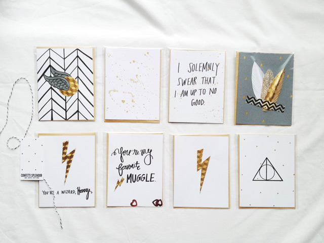 harry potter greeting cards, handmade harry potter cards, harry potter on etsy, hermione granger, ron weasley, i solemnly swear i am up to no good, hedwig, lightning bolt, deathly hallows symbol, you're a wizard harry