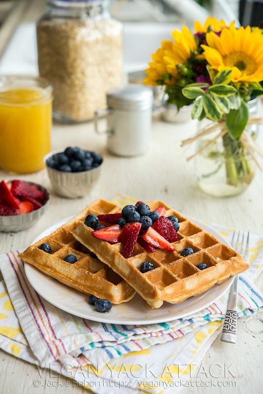 Berry Pineapple Belgian Waffles | Vegan Yack Attack