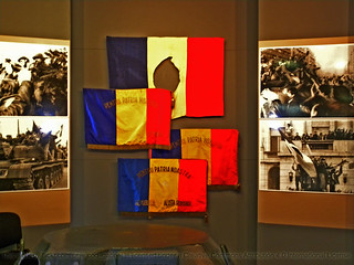 Battleflags in the Romanian Revolution Hall in the National Military Museum in Bucharest