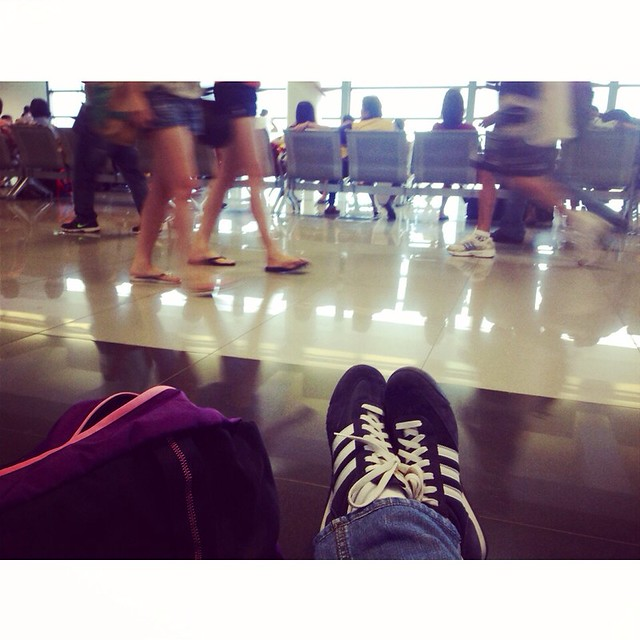 On the floor while waiting for my flight