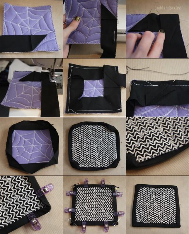 cobweb coasters binding tutorial halloween spiderweb quilting