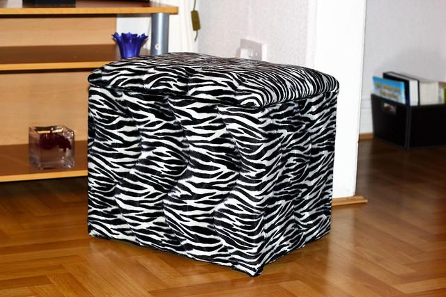 Zebra-print-Storage-Box-Stool-DIY, minimalist monochrome theme living room, Sturdy Storage Box Stool, second hand furniture, glue gun, staple gun