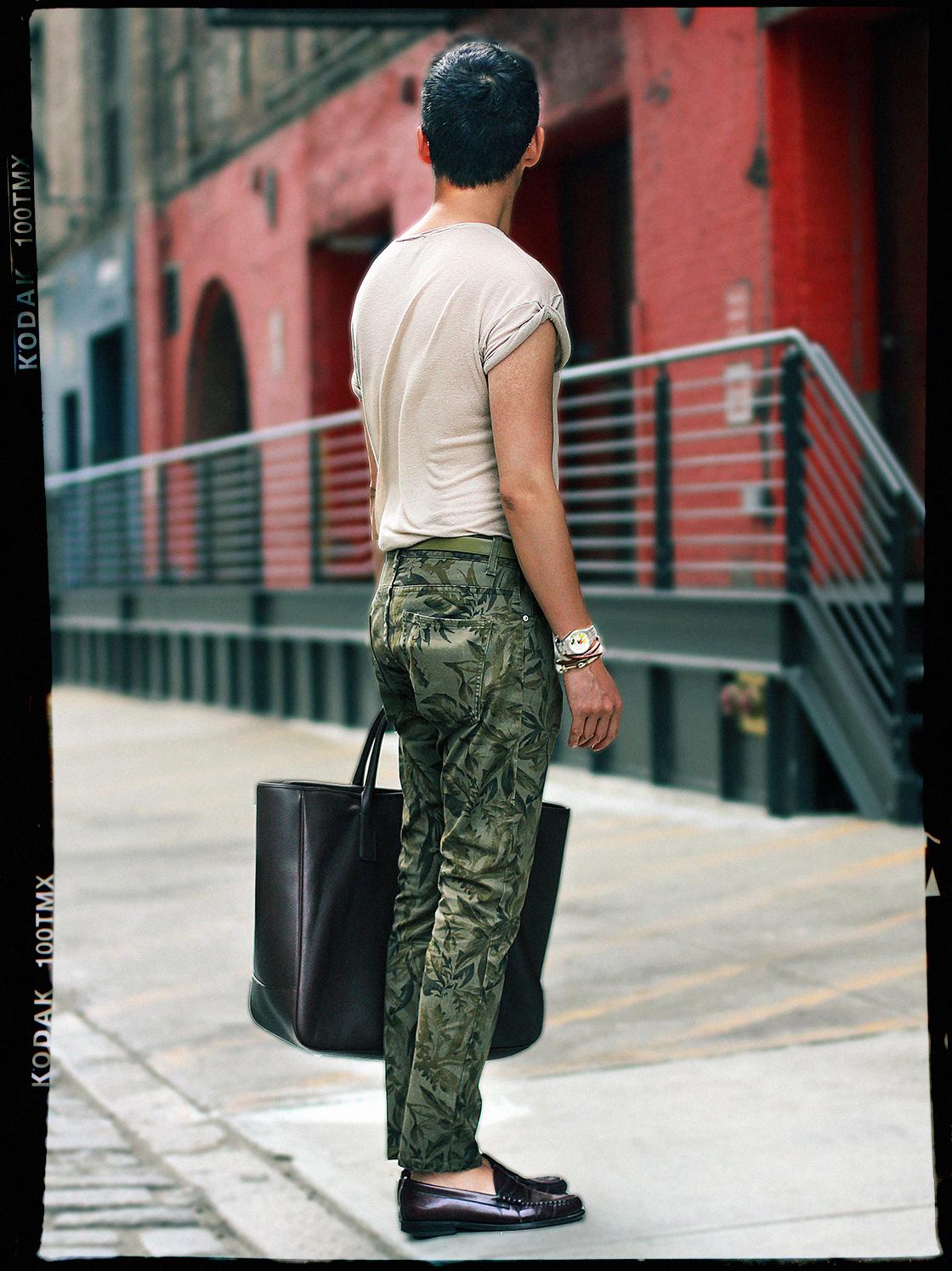 green floral pants