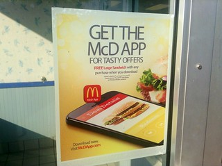 McDonald McD App Sign on Door at McDonalds Plainville, CT. Pics by Mike Mozart of TheToyChannel and JeepersMedia on YouTube. #McDonalds #McDApp #McDonaldsApp