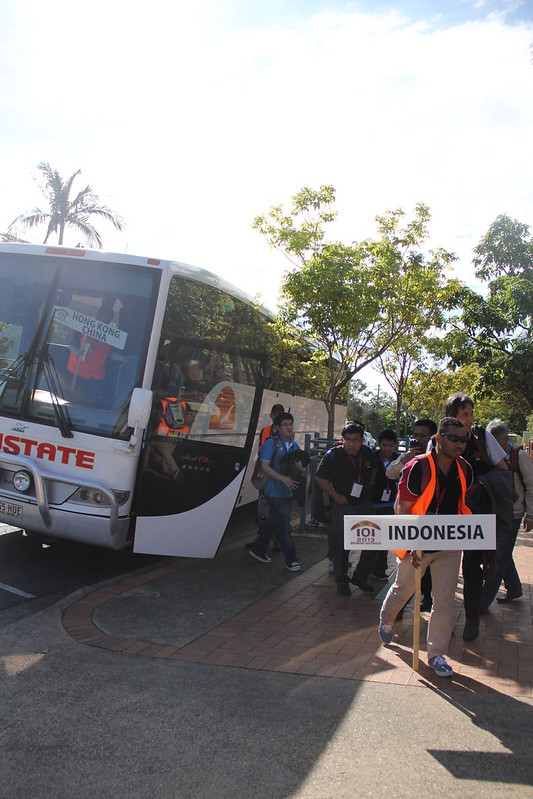 Team Indonesia getting off the bus