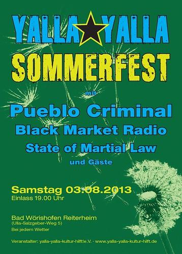 Yalla Yalla Sommerfest 2013 - Flyer Front - 03.08.2013 - PUEBLO CRIMINAL