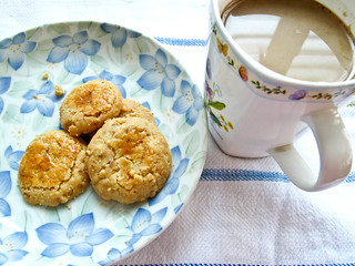 IMG_1705 Coffee with milk and walnut cookies  - breakfast