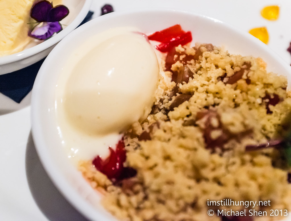 Warm poached rhubarb & pear crumble w/coconut ice cream Ezard
