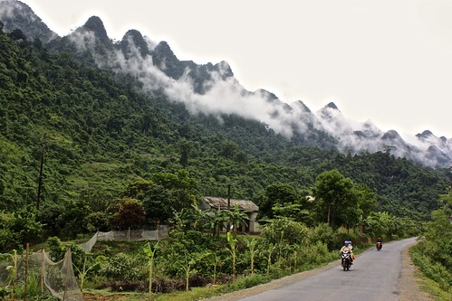 The crazy mountain peaks begin not long after we leave Ha Giang