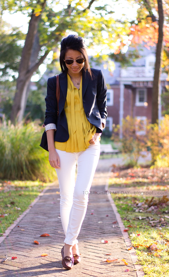 navy blazer, mustard top, white jeans, brown loafers