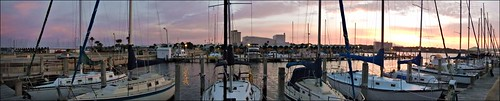 panorama clouds sunrise boats florida pano panoramic boating sailboats panamacity corelpaintshoppro downtownmarina nikonaw110