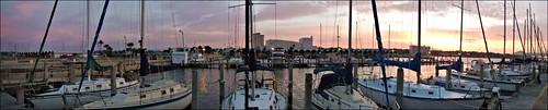 panorama clouds sunrise boats florida pano panoramic boating sailboats panamacity corelpaintshoppro downtownmarina nikonaw110