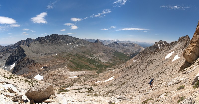 Panorama view of Spiller Canyon from the southeast slope of Matterhorn Peak