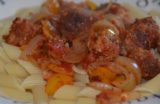 Easy supper recipe with a sausage based pasta sauce