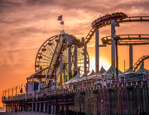 sunset wheel pier santamonica ferris roller coaster