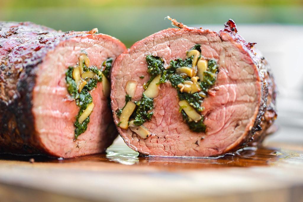 Spinach and Mushroom-Stuffed Beef Tenderloin