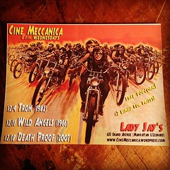 See you at the flicks! #cinemeccanica #tron #wildangels #deathproof #motorcyclemovies #bikerflicks #ladyjaysbrooklyn