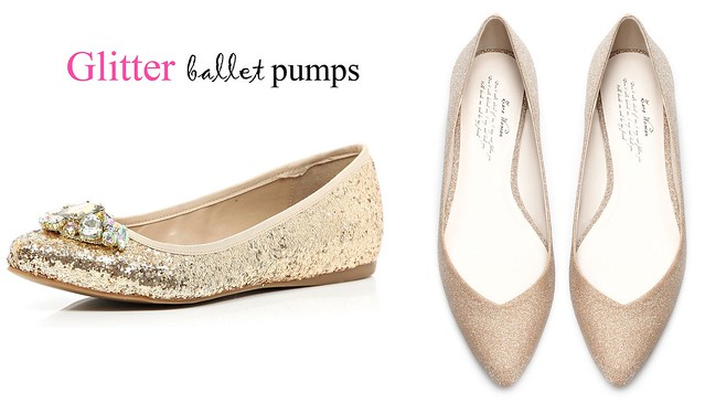 glittery ballet pumps, shoes, women's shoes