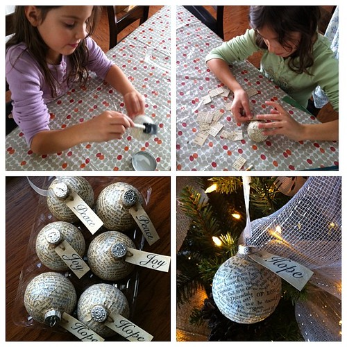 Earlier today: making ornaments with my girlies #christmas #crafty #vintage