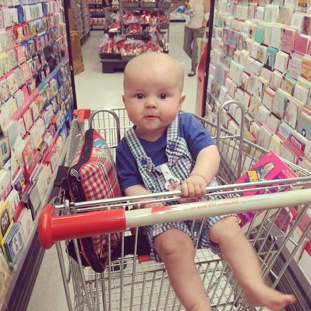 #babyjagoe's first time sitting in a shopping trolley. Good work.