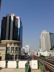 Times Square building seen from Asok BTS Skytrain station, Bangkok, Thailand