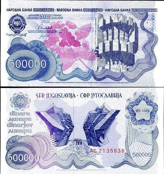 500 000 Dinárov Juhoslávia 1989, Pick 98
