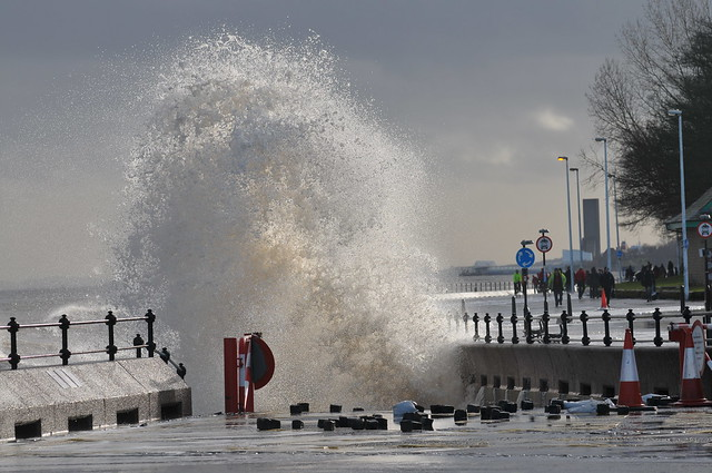 High tides hit River Mersey waterfront