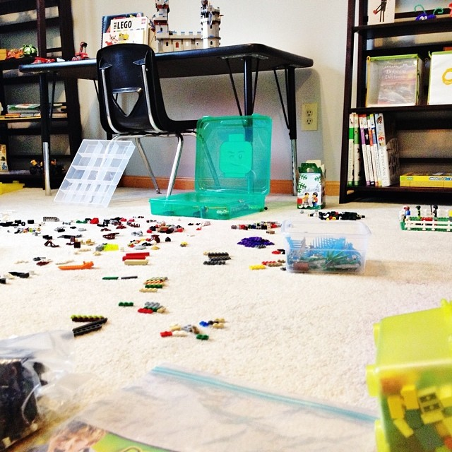 Life with boys: a sea of Legos. #keepinitreal