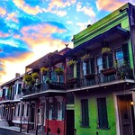 Sunset in the French Quarter. Photo by @schiffmania #nola #onlyinneworleans #frenchquarter