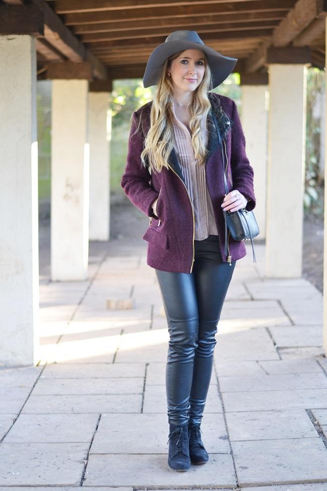 Outfit Flieder und Leder (2)
