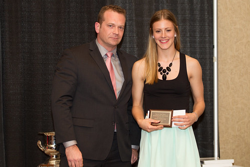 Matt Milovick (VP Admin) with Alanna Bekkering STF female athlete of year (Snucins)