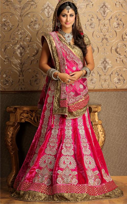 DE Attractive Rosy Magenta Bridal Lehenga