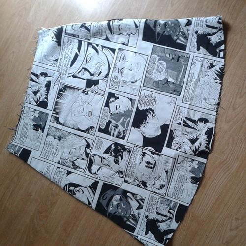 Comic strip skirt in progress