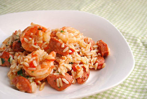 spicy shrimp & andouille sausage jambalaya