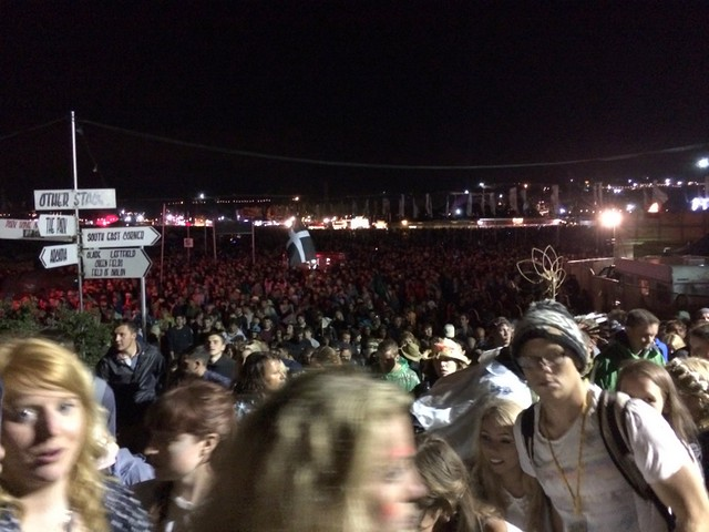 Huge crowds surging up to Arcadia & the Park after Arcade Fire on Saturday night
