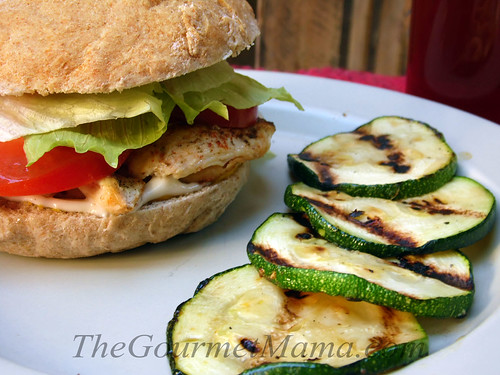 Chicken Burger with Grilled Zucchini