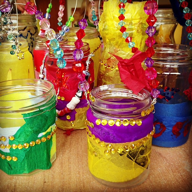 The gorgeously bright and sparkly Winter Soltice lanterns we made at our natural learners co-op today #naturallearning #coop #lanterns #rainbows