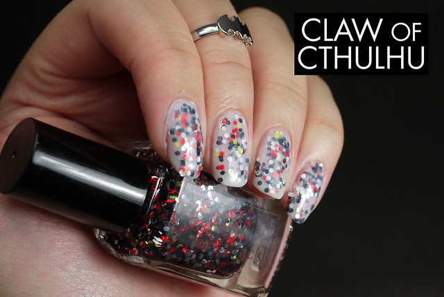Fandom Cosmetics Another! Swatch (jelly sandwiched with OPI Don't Touch My Tutu!)