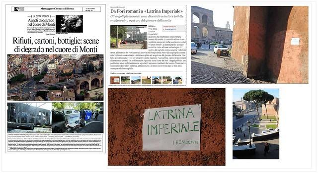 """ROMA ARCHEOLOGIA e BENI CULTURALI e ROMA di ALEMMANO: """"Alemanno: pedonalizzazione da rifare"""", IL MESS., (24/07/2013), & IL DEGRADO DELLA CITTA'- Via dei Fori Imperiali, Belvedere Cederna, che brutto spettacolo. La Repubblica (11/05/2011)."""