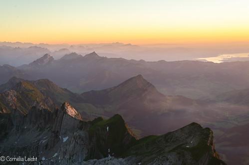 sunset schweiz sonnenuntergang berge gebirge säntis schwägalp
