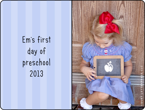 first day of early preschool 2013