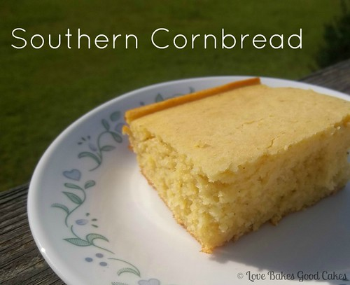 Southern Cornbread on white plate close up.