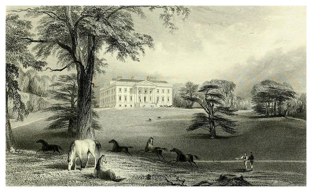 7. Claremont House y sus jardines, a finales del siglo XIX. Ilustración de Edward Wedlake Brayley. Autor, Ayacata7